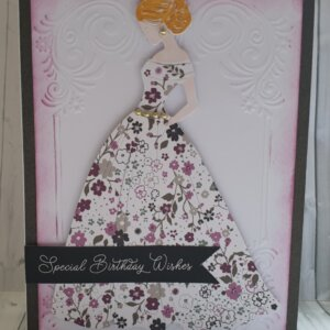 Lady in floral dress greeting card