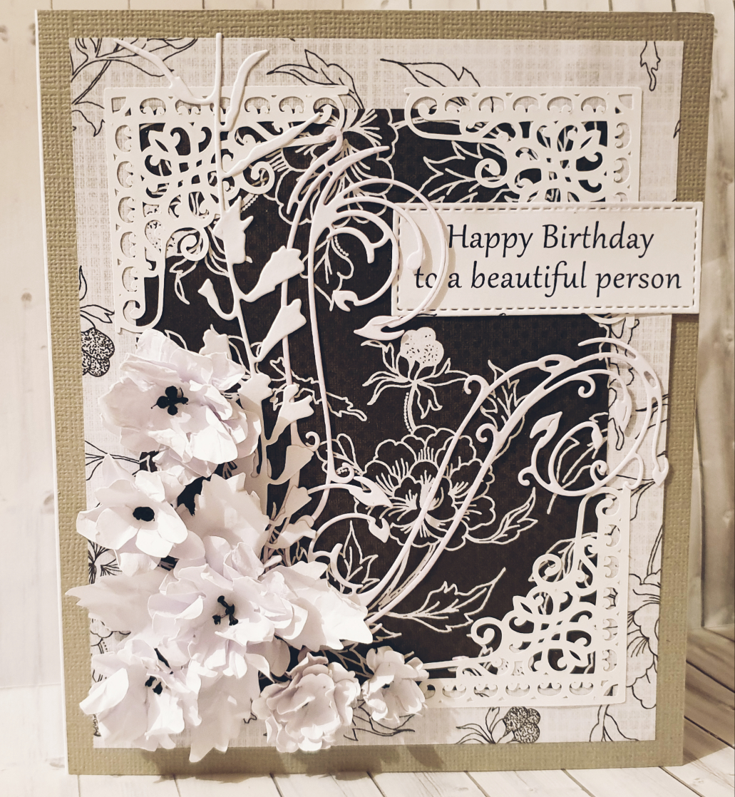 black and white 3d birthday card