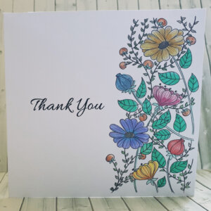 Handpainted floral thank you greeting card