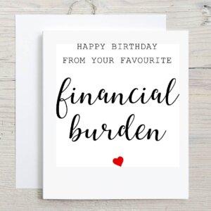 financial burden greeting card