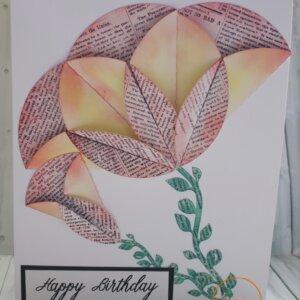 Folded flower birthday greeting card